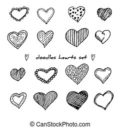 Hand-drawn doodle hearts set isolated on white. Design elements for Valentine day and wedding. Vector illustration for web site, poster, placard, wallpaper.
