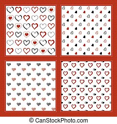 Hand drawn doodle hearts. Set of four seamless patterns