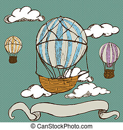 vintage hot air balloons - Hand drawn doodle illustration of...