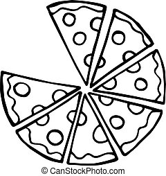 doodle illustration pizza with sausage