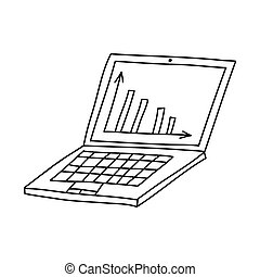 Hand drawn doodle laptop icon with graph on desktop. Isolated on white background. Vector stock illustration.