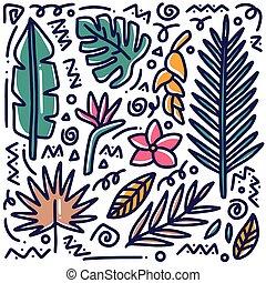 hand drawn doodle leaf set