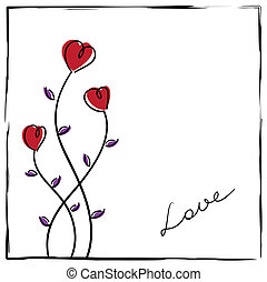 Hand-drawn doodle love card