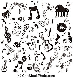 Hand drawn, doodle music icon set