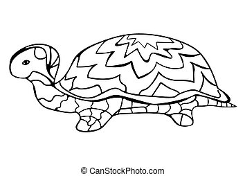 Hand-drawn Doodle of a turtle pattern on the shell