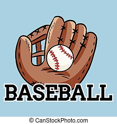 Hand drawn doodle of baseball glove holding a ball. Cartoon style drawing, for posters, decoration and print. Vector illustration