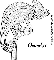 Hand drawn doodle outline chameleon illustration. Decorative in zentangle style. Patterned fiery on the grunge background. Sketch for adult antistress coloring page.