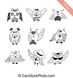 Hand drawn doodle owls set.