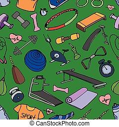 Doodle pattern set of sport