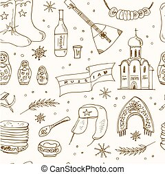 Hand drawn doodle Russia travel seamless pattern