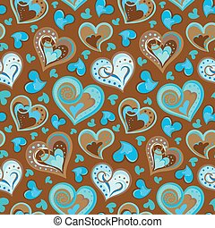 Hand drawn doodle seamless pattern of hearts. Colofrul hearts on light chocolate background. Vector illustration
