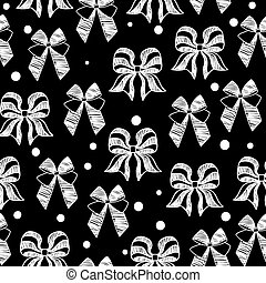 hand-drawn doodle seamless pattern with bows.