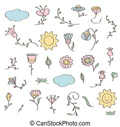 Hand drawn doodle set of flowers