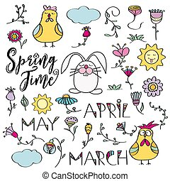 Hand drawn doodle set of spring elements. Flowers, bunny, chicken.