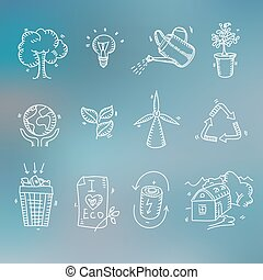Hand drawn doodle sketch ecology organic icons eco and bio elements Blurred background Nature planet protection care recycling save concept