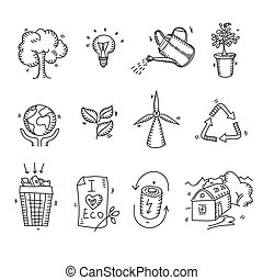 Hand drawn doodle sketch ecology organic icons eco and bio elements nature planet protection care recycling save concept