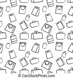 Hand drawn doodle sketch illustration seamless pattern of bags case, handbag, Clutch. Flat design