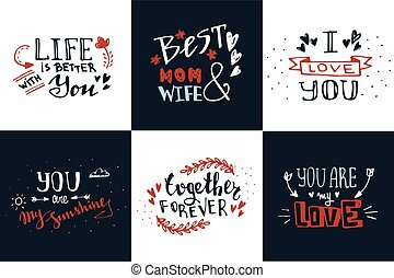 Hand drawn doodle sketch love quotes vector set. Romantic greetings