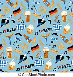 Hand drawn doodle style Beer and food seamless pattern.