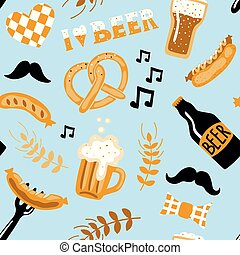 Hand drawn doodle style Beer seamless pattern. Craft beer festival.