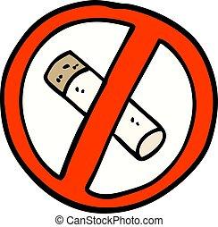 hand drawn doodle style cartoon no smoking sign