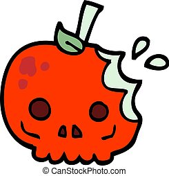 hand drawn doodle style cartoon red poison apple