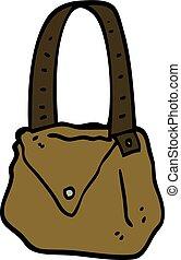 hand drawn doodle style cartoon satchel