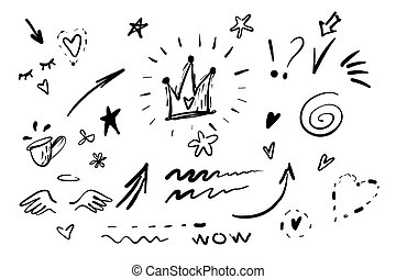 Hand drawn doodle swishes, swoops, emphasis vector set. Collection of black and white highlight text elements, calligraphy swirl, tail, flower, heart, graffiti crown
