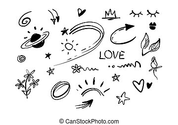 Hand drawn doodle swishes, swoops, emphasis vector set. ...