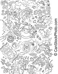 Hand drawn doodle texture. Vector printable pattern with animals and objects.