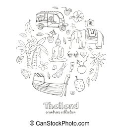 Hand drawn doodle Thailand travel set.