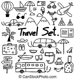 Hand Drawn Doodle Travel Set. Vector Illustration.