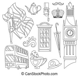 Hand drawn doodle United Kingdom. Set vector illustration UK icons. Welcome to London elements. Britannia symbols collection. Sketch coloring style