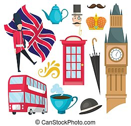 Hand drawn doodle United Kingdom. Set vector illustration UK icons. Welcome to London elements. Britannia symbols collection