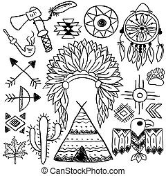 Hand drawn doodle vector native american symbols set - Hand...