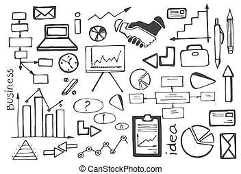 Doodle vector set of business