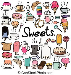 Hand Drawn Doodle Vector Sweets Set.