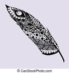 Hand drawn doodle zentangle feather isolated from background. Black and purple illustration with different ornaments.