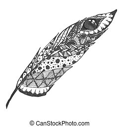 Hand drawn doodle zentangle feather isolated from background. Black and white illustration with different ornaments.