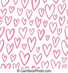 Hand drawn doodled hearts seamless pattern