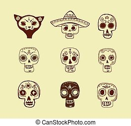 doodles, mexican skull set, day of the dead