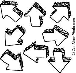 hand drawn doodles of 3D arrow