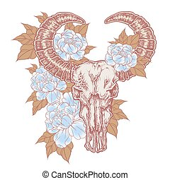 Hand drawn dot work tattoo buffalo skull with flowers. Native american art in vintage boho style. Vector illustration isolated