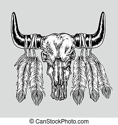 Hand drawn dot work tattoo buffalo skull with feathers. Native american art in vintage boho style. Vector illustration isolated