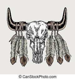 Hand drawn dot work tattoo buffalo skull with feathers....