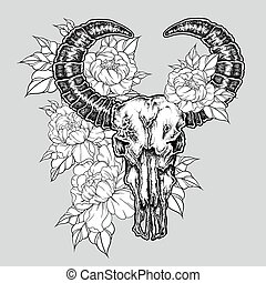 Hand drawn dot work tattoo buffalo skull with flowers....