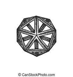 hand drawn dotted style polyhedron illustration - vector...