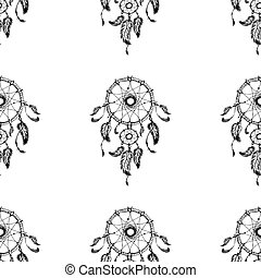 Hand-drawn dreamcatcher with feathers. Seamless pattern