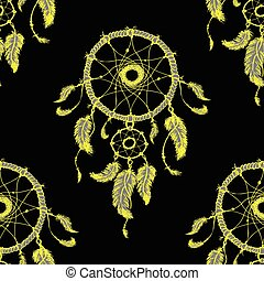 Hand-drawn dreamcatcher with feathers Seamless pattern.