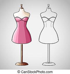 Hand drawn dress on dressform